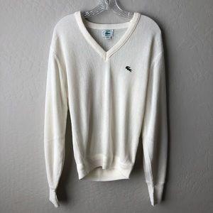 Lacoste V Neck Long Sleeve Sweater Cream S